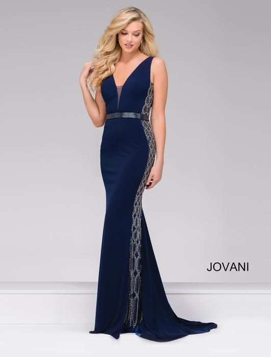 Jovani Prom Dress Style 42321 Gorgeous Navy Blue Dress With Beading