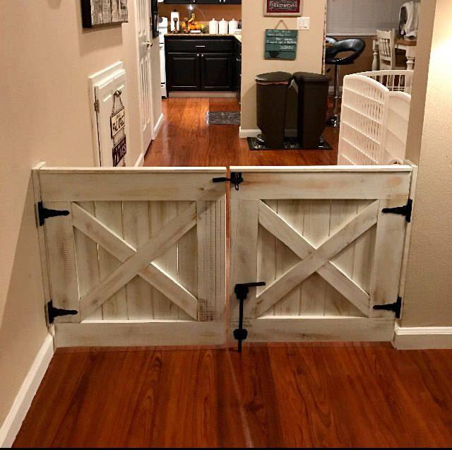 Double Door Rustic Barn Door Style Baby / Dog Gate