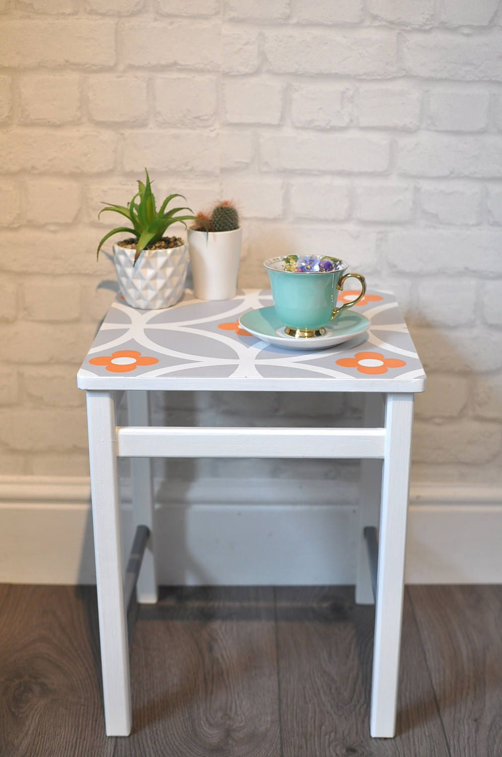 Upcycled Vintage Small Retro Side Table Coffee Table In Layla