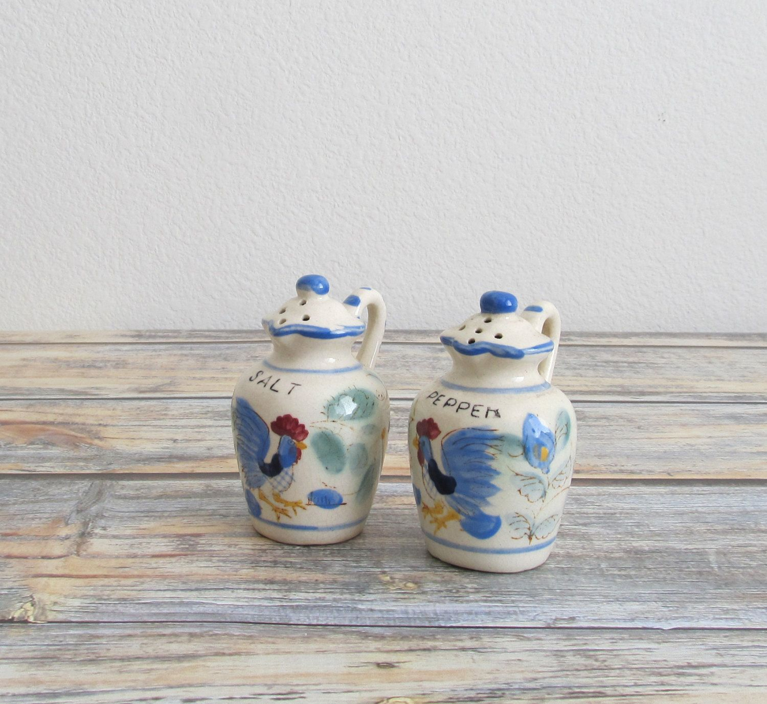 New to VintageLandia on Etsy: Rustic Kitchen   Salt and Pepper Shakers   Rooster Hand Painted Jug   Novelty Kitsch Collectibles   Nasco Japan (14.99 USD)