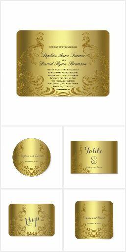 Royal Gold Abstract Peacock Wedding Collection