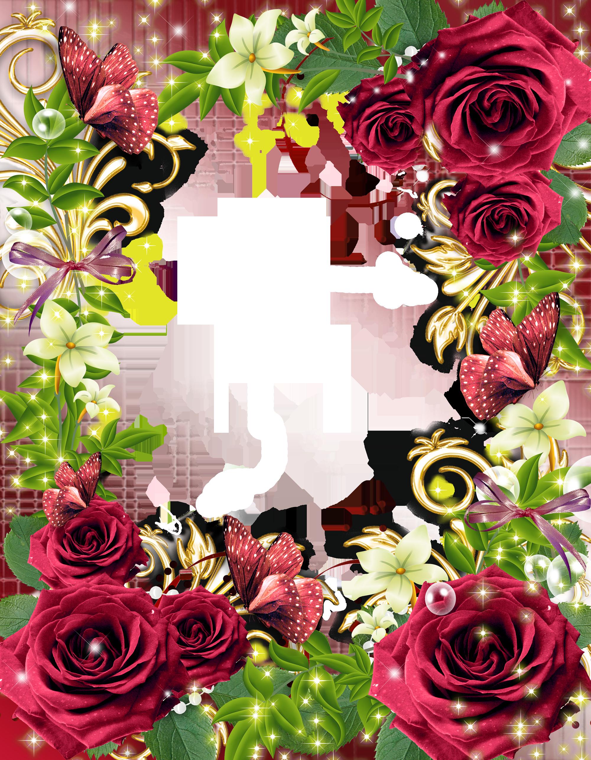 Transparante PNG fotolijst met Rode Rozen Red roses