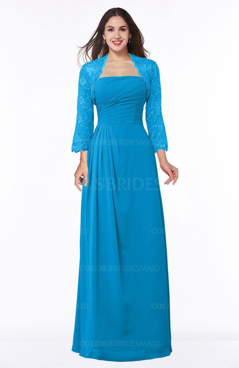 Cornflower Blue Modest Strapless Zip up Floor Length Lace Mother of ...