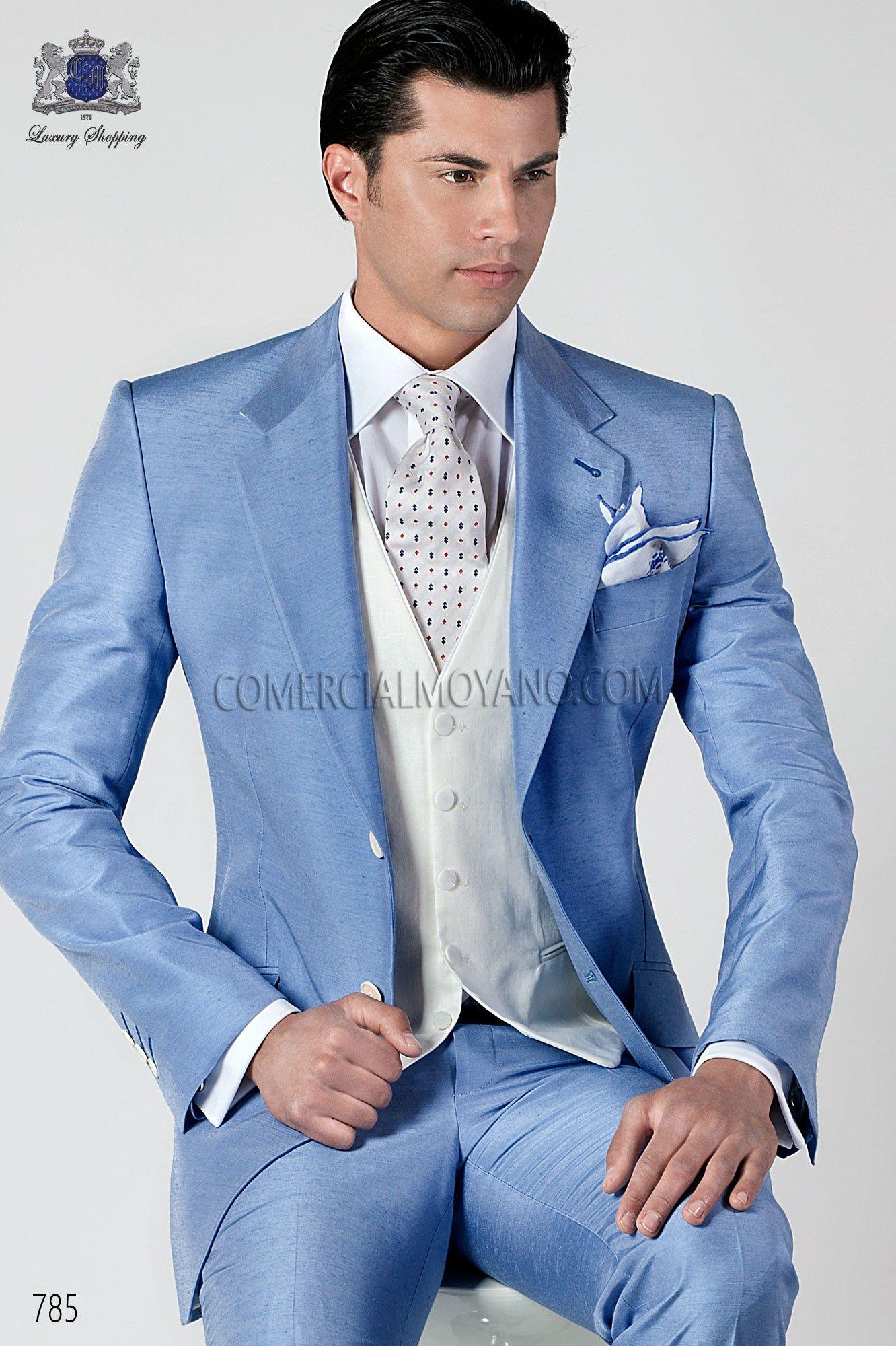 Traje italiano de moda shantung celeste | Men wedding suits, Wedding ...