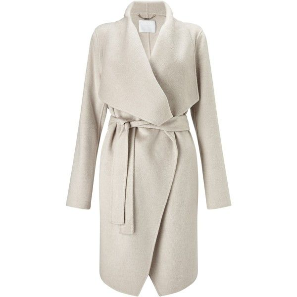 BOSS Catifa Wool Cashmere Belted Wrap Coat, Cream ($870) ❤ liked ...