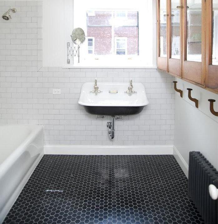 White and Black Hex Tile Bathroom Floor