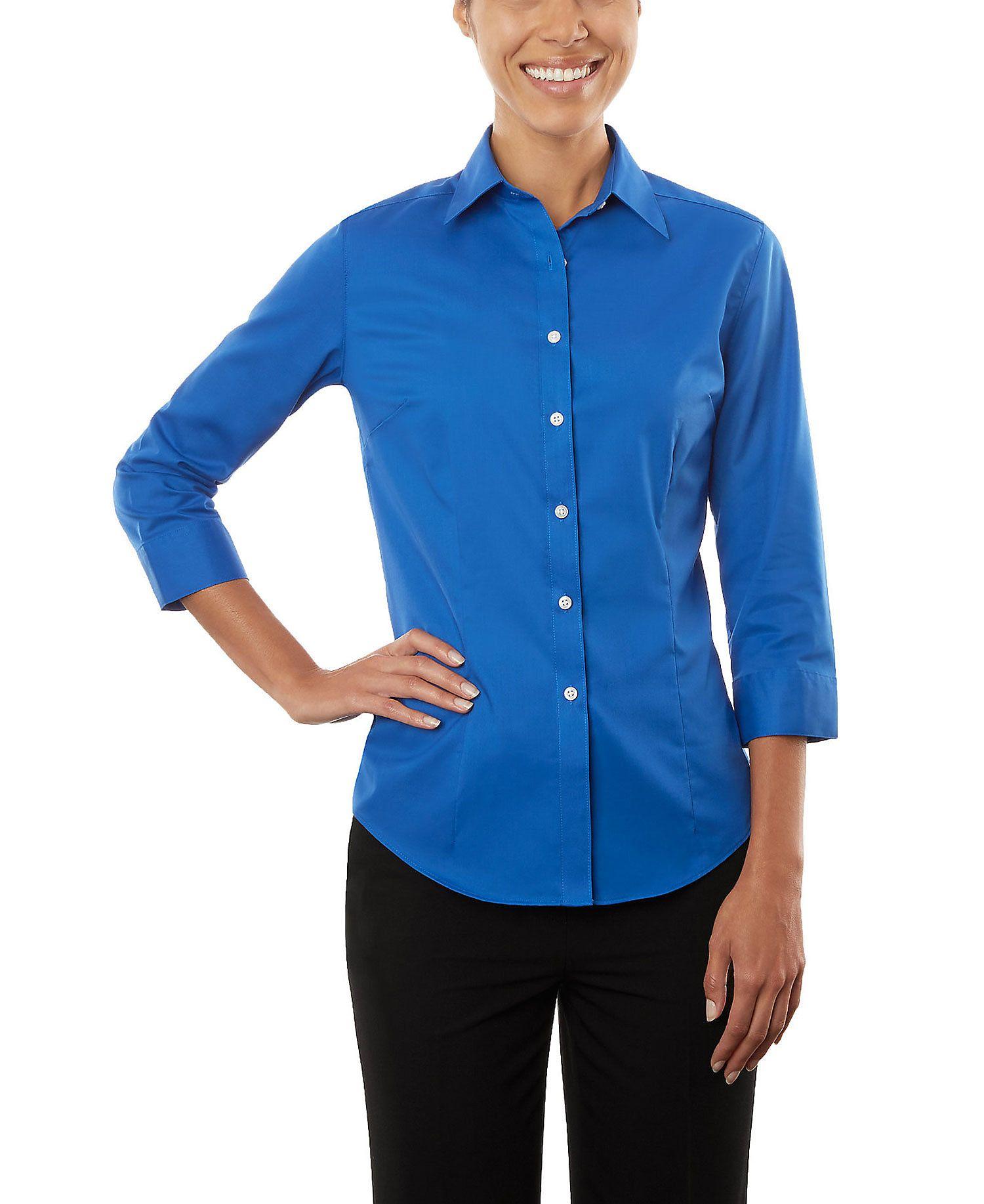 Van Heusen Van Heusen Ladies 3 4 Sleeve Dress Twill Shirt Walmart Com Style Inspiration Casual Twill Shirt Clothes [ 1834 x 1500 Pixel ]