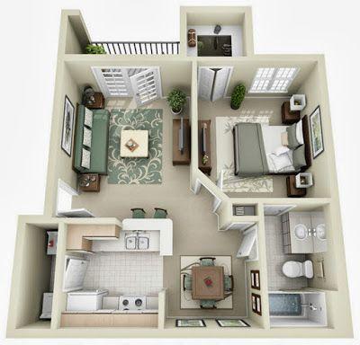 Departamentos pequeños, planos y diseño en 3D Casa  Jardín