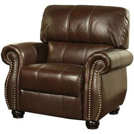 "Italian leather arm chair with nailhead trim.   Product: ChairConstruction Material: Italian leather and woodColor: BrownFeatures: Scrolled armsNailhead trimDimensions: 38"" H x 42"" W x 39"" DAssembly: Assembly required"