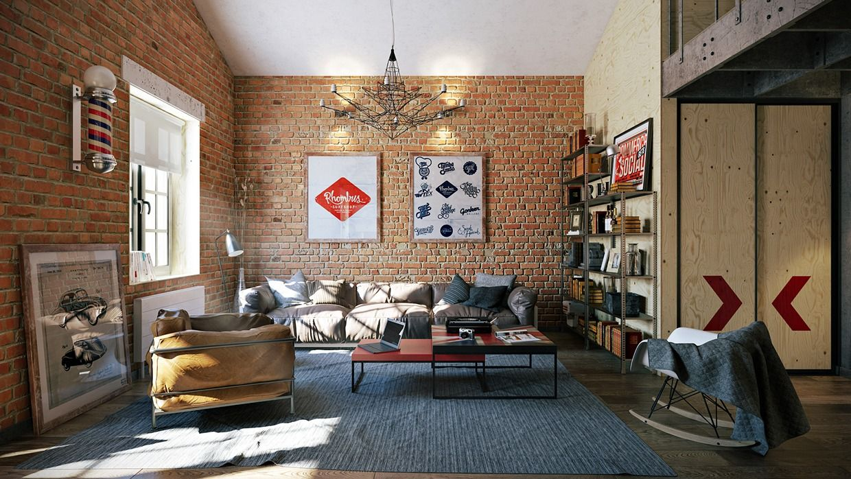 3 Stylish Industrial Inspired Loft Interiors   Living Room Designs ...