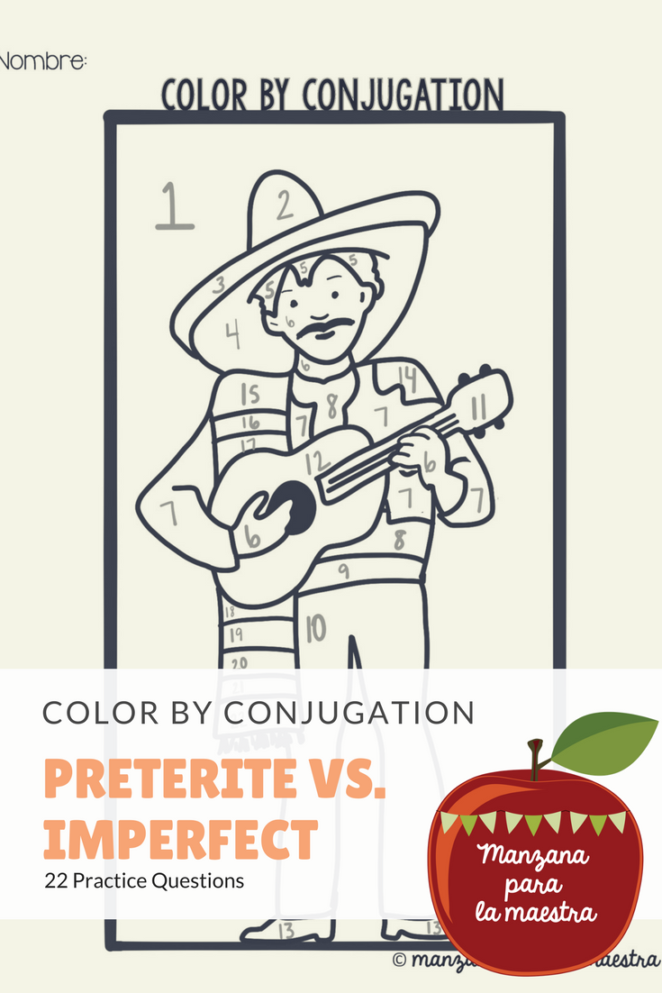 Preterite vs Imperfect color by conjugation activity ...