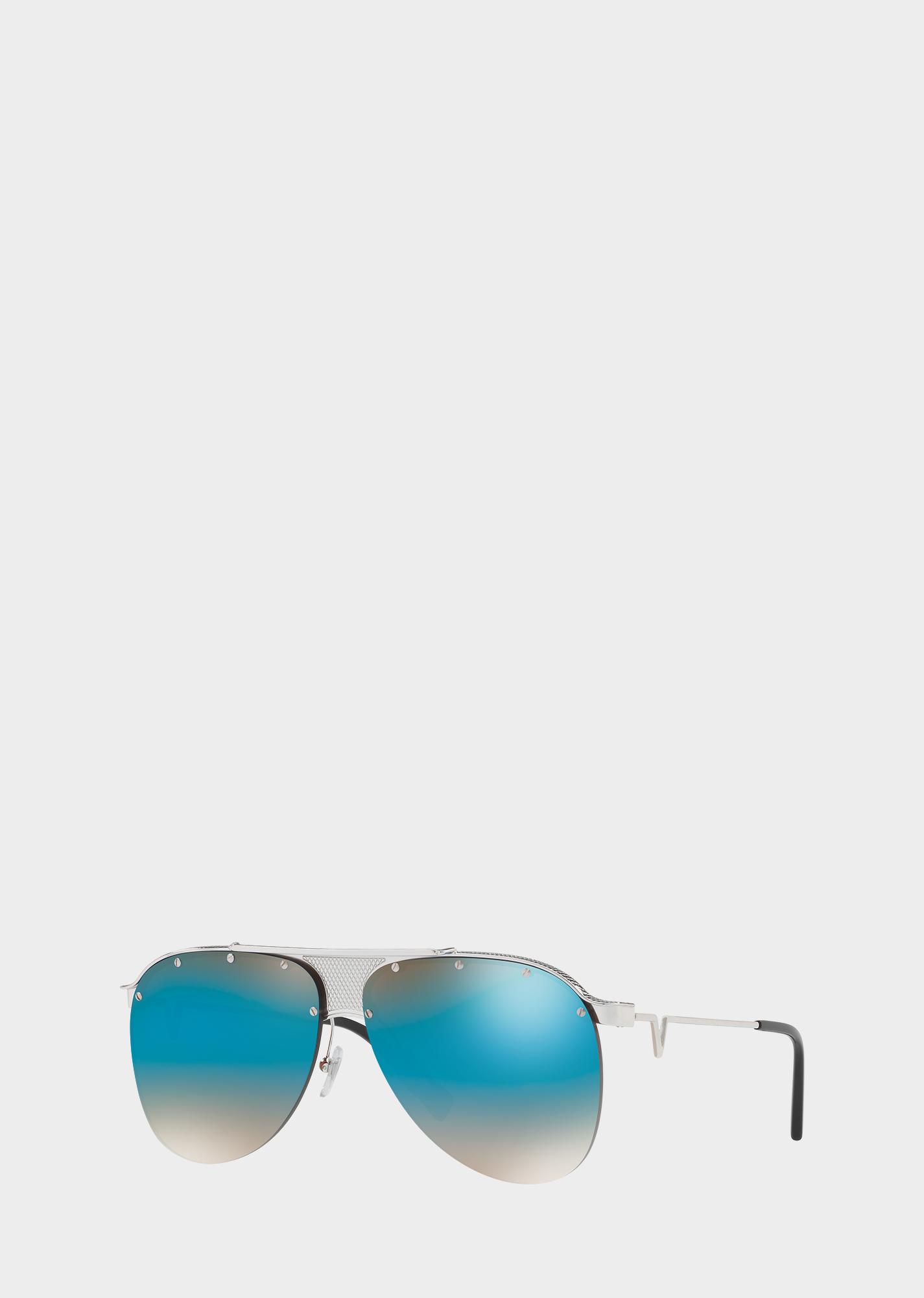 d96f9498e87 Blue V-Pilot Sunglasses - Blue Eyewear - Sale! Up to 75% OFF! Shop at  Stylizio for women s and men s designer handbags