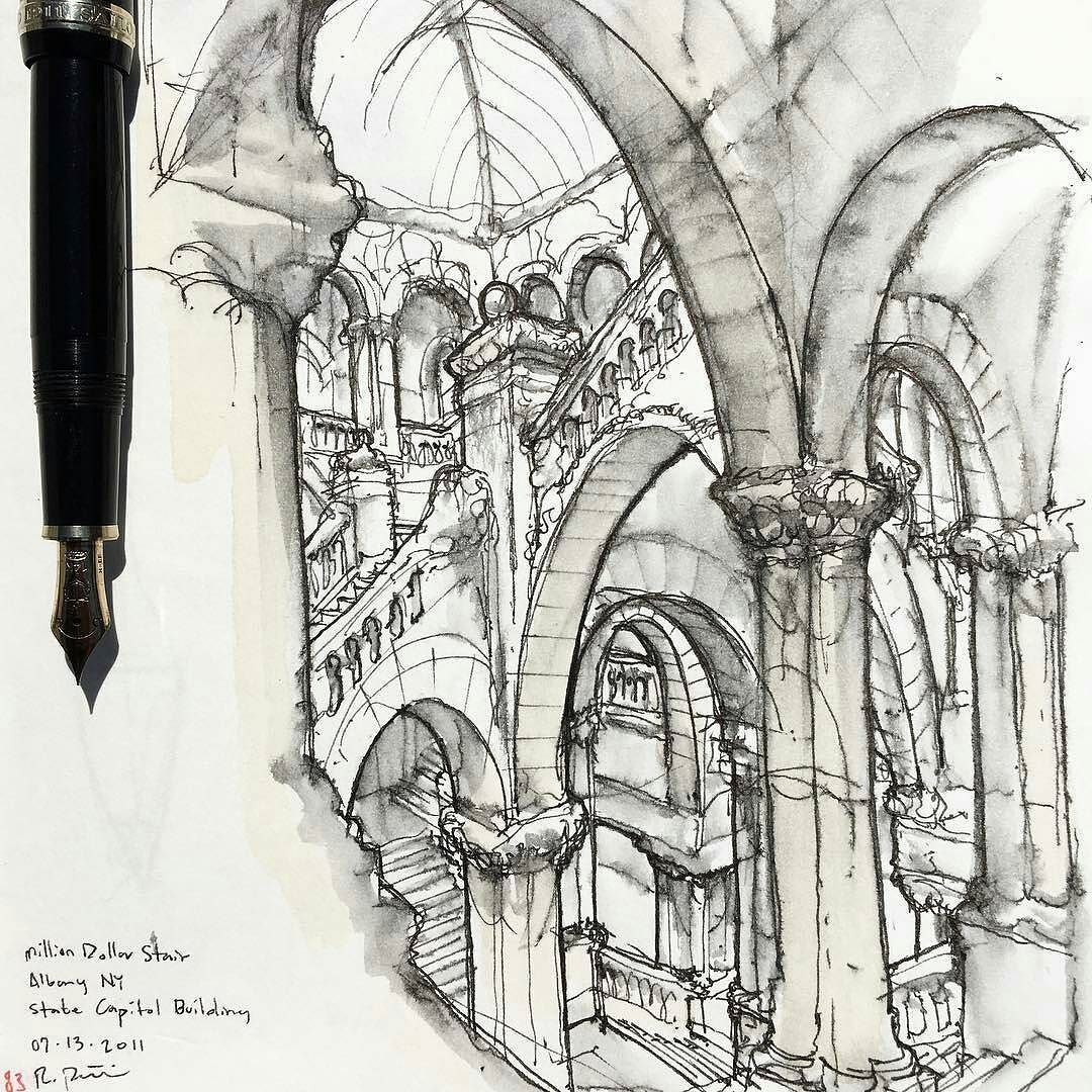 Really cool #architecture #sketch by Rob Petrie ...