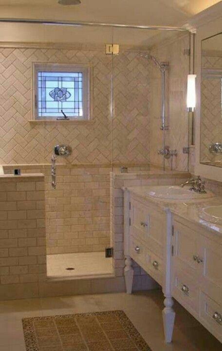 Herringbone Pattern With Subway Tiles In Beige Bathroom Design Bathrooms Remodel Transitional Bathroom Design