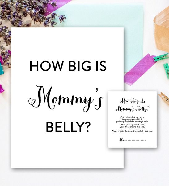 Baby Shower Game How Big Is Mommyu0027s Belly Simple Black And White Instant  Download | Baby Shower Games And Shower Favors