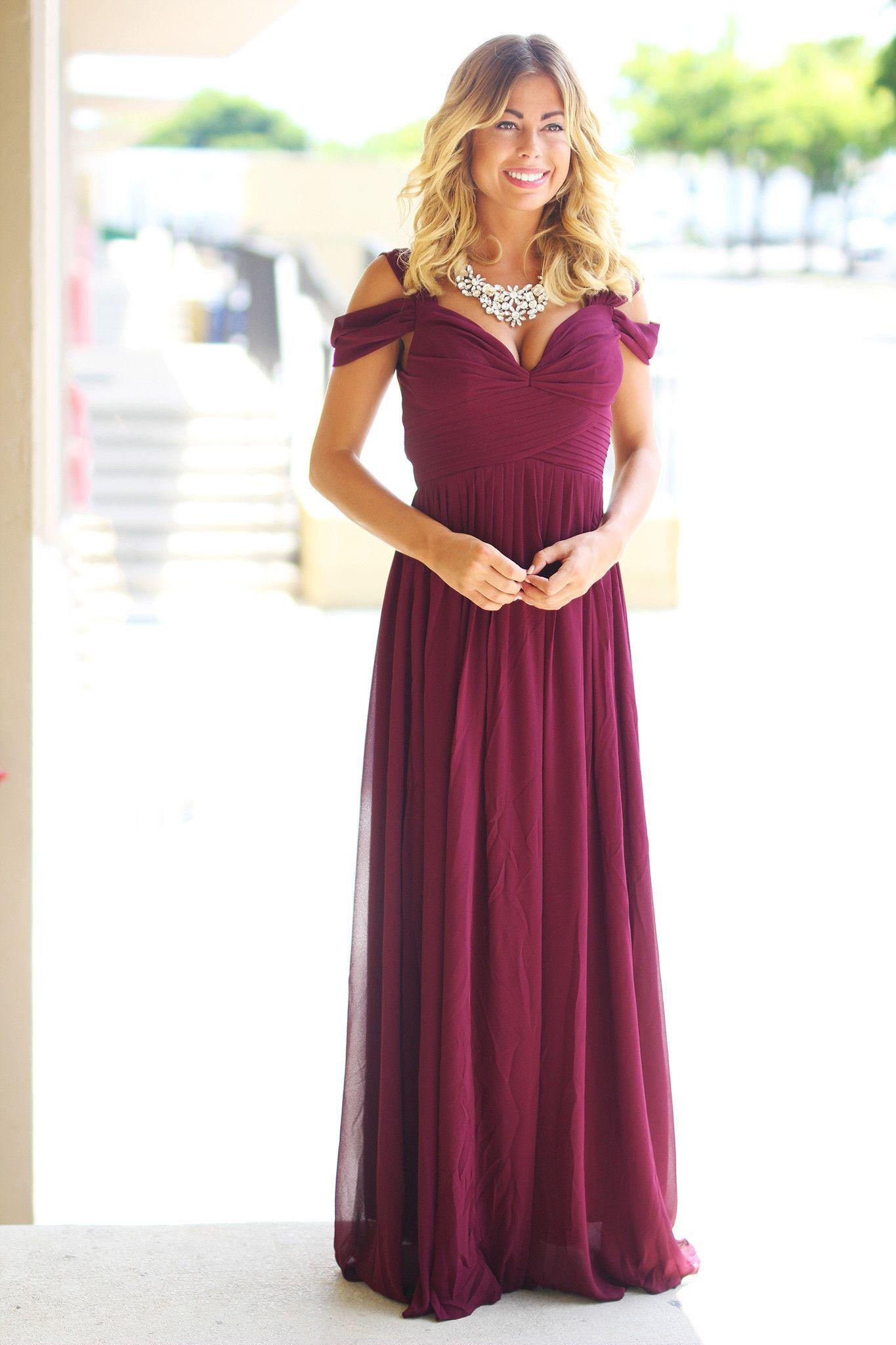 7f47d351d13d Burgundy Off Shoulder Maxi Dress