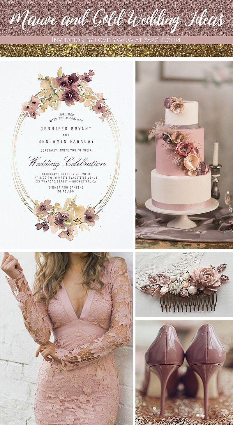 Gold and Mauve Floral Watercolor Vintage Wedding Invitation | Zazzle.com #dustyrosewedding