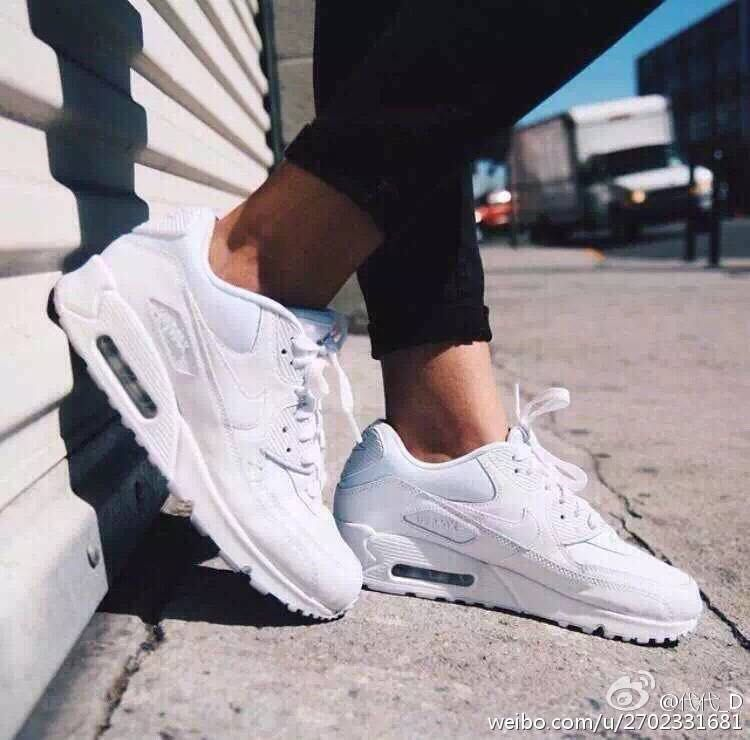 Nike Air Max 90 leather white trainers 302519 113 | eBay