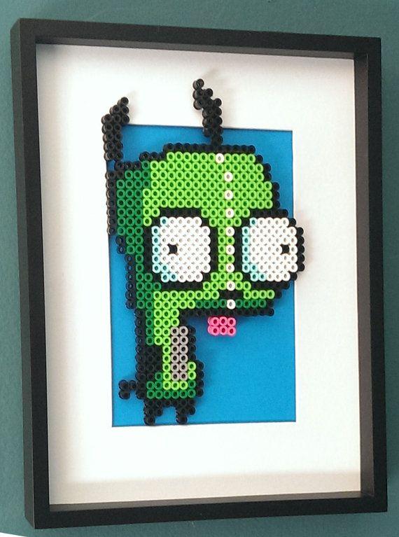 Gir from Invader Zim Framed Art Under Glass perler beads by