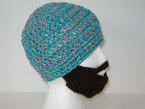 Crocheted Bearded Face Mask Hat Blue and Gray Hat by tonebelle