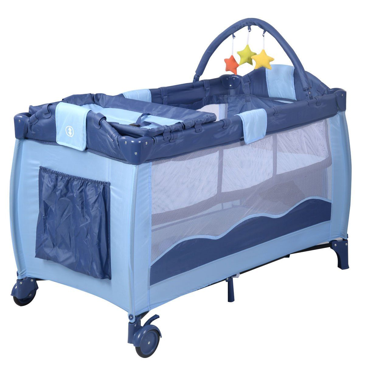 Baby crib playard - Baby Crib Playpen Playard Pack Travel Infant Bassinet Bed Foldable Blue Wanna Go