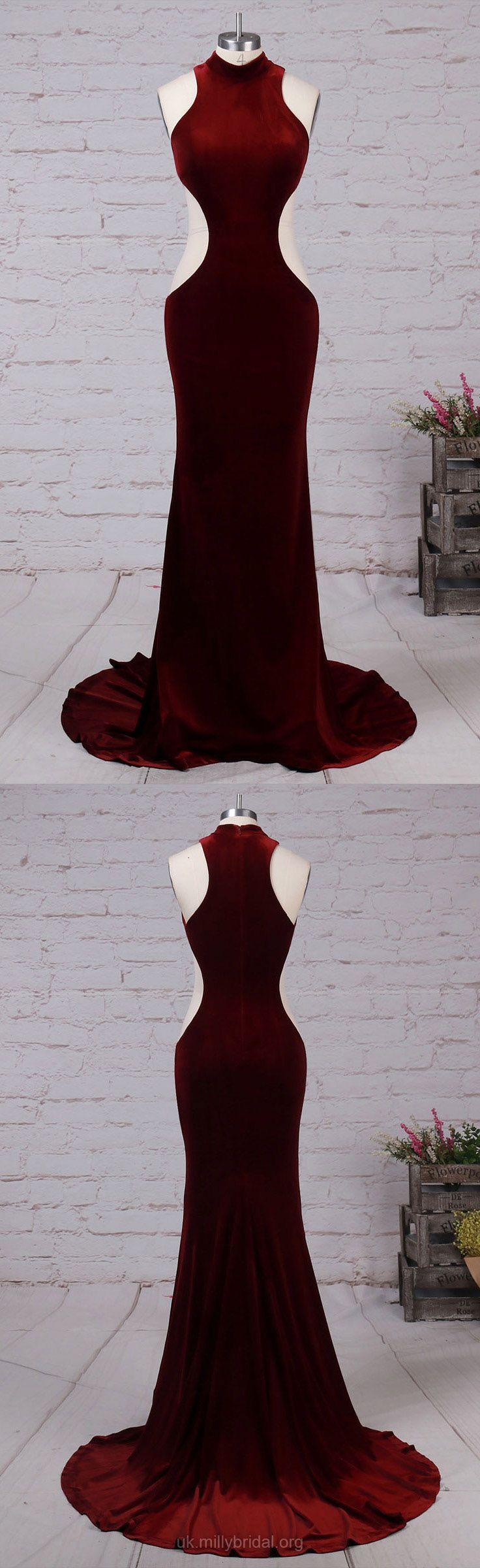 Burgundy prom dresses mermaid long formal dresses for teens velvet