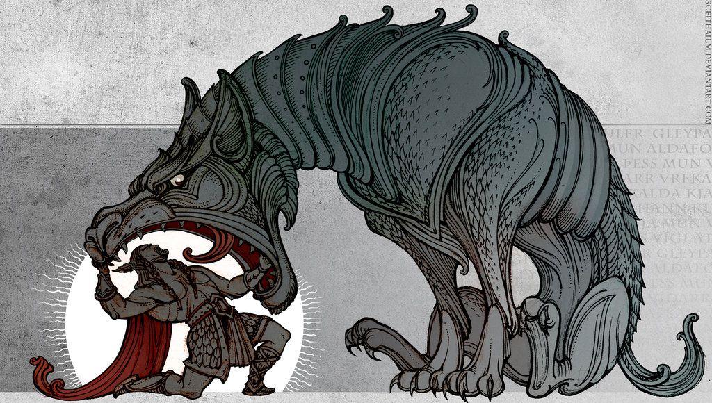 fenriswolf by on deviantart inspiration bd dessin mythologie. Black Bedroom Furniture Sets. Home Design Ideas