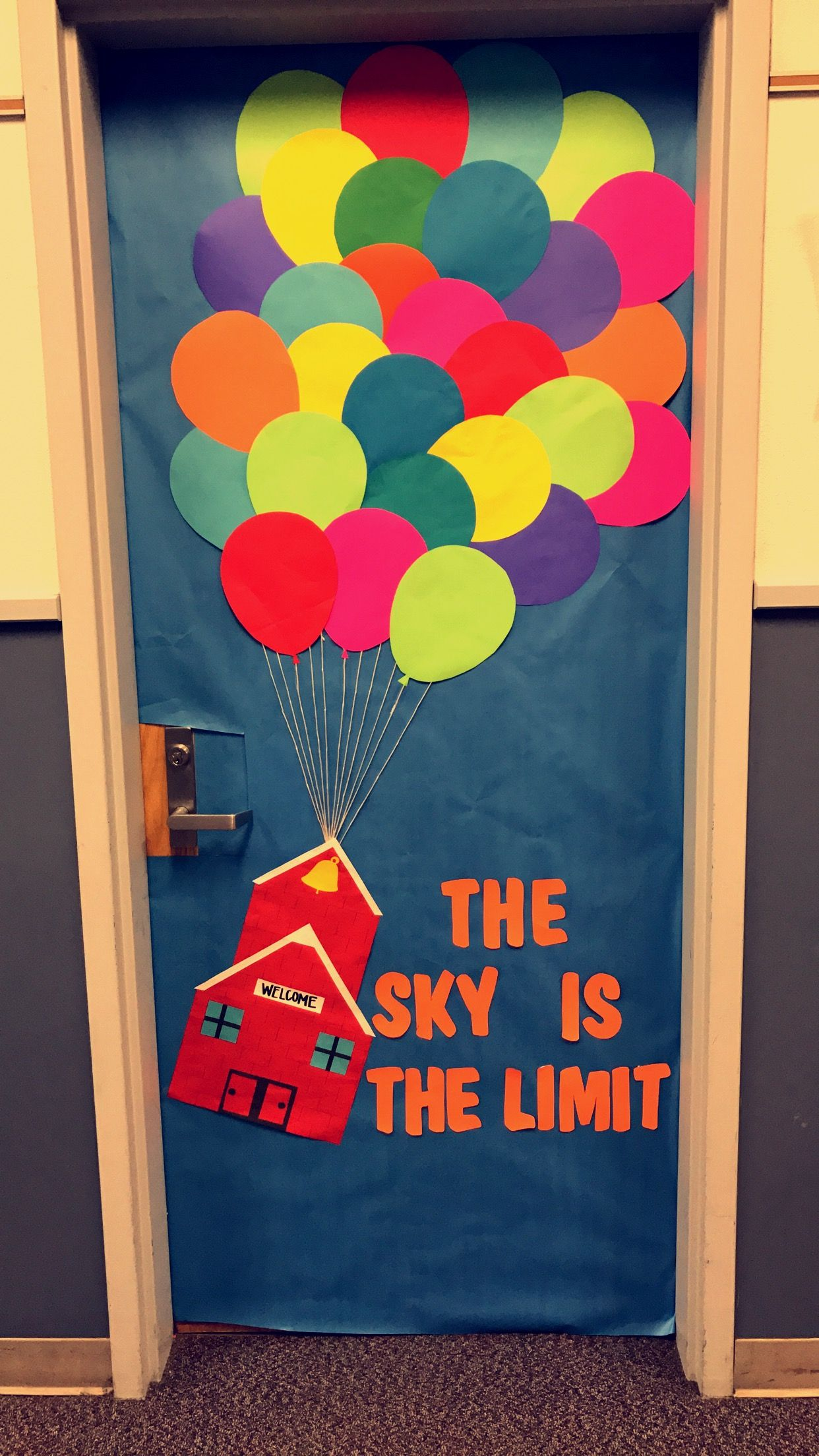 The sky is the limit classroom door decoration up balloons ...