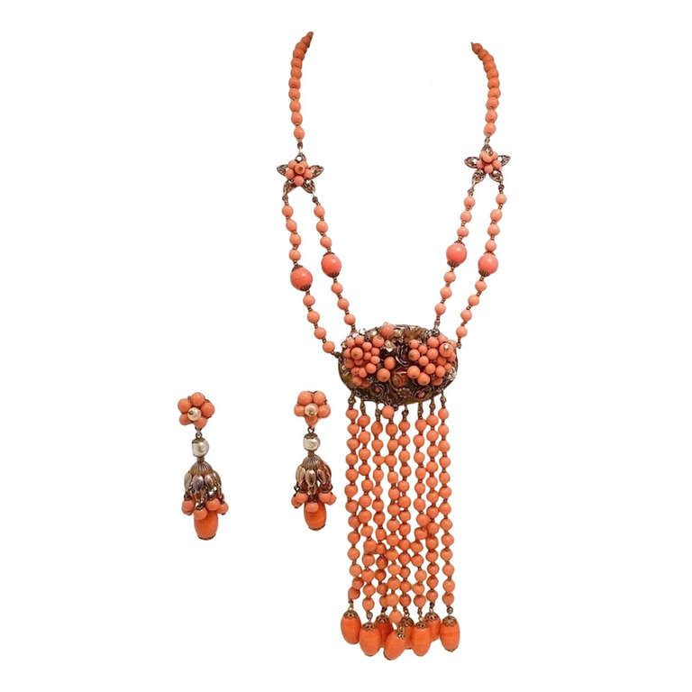 Vintage Signed Coral Glass Miriam Haskell Necklace & Earrings | From a unique collection of vintage drop necklaces at http://www.1stdibs.com/jewelry/necklaces/drop-necklaces/