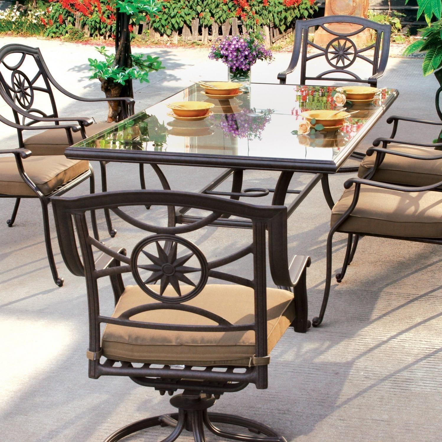 Darlee Ten Star 7 Piece Cast Aluminum Patio Dining Set With Glass