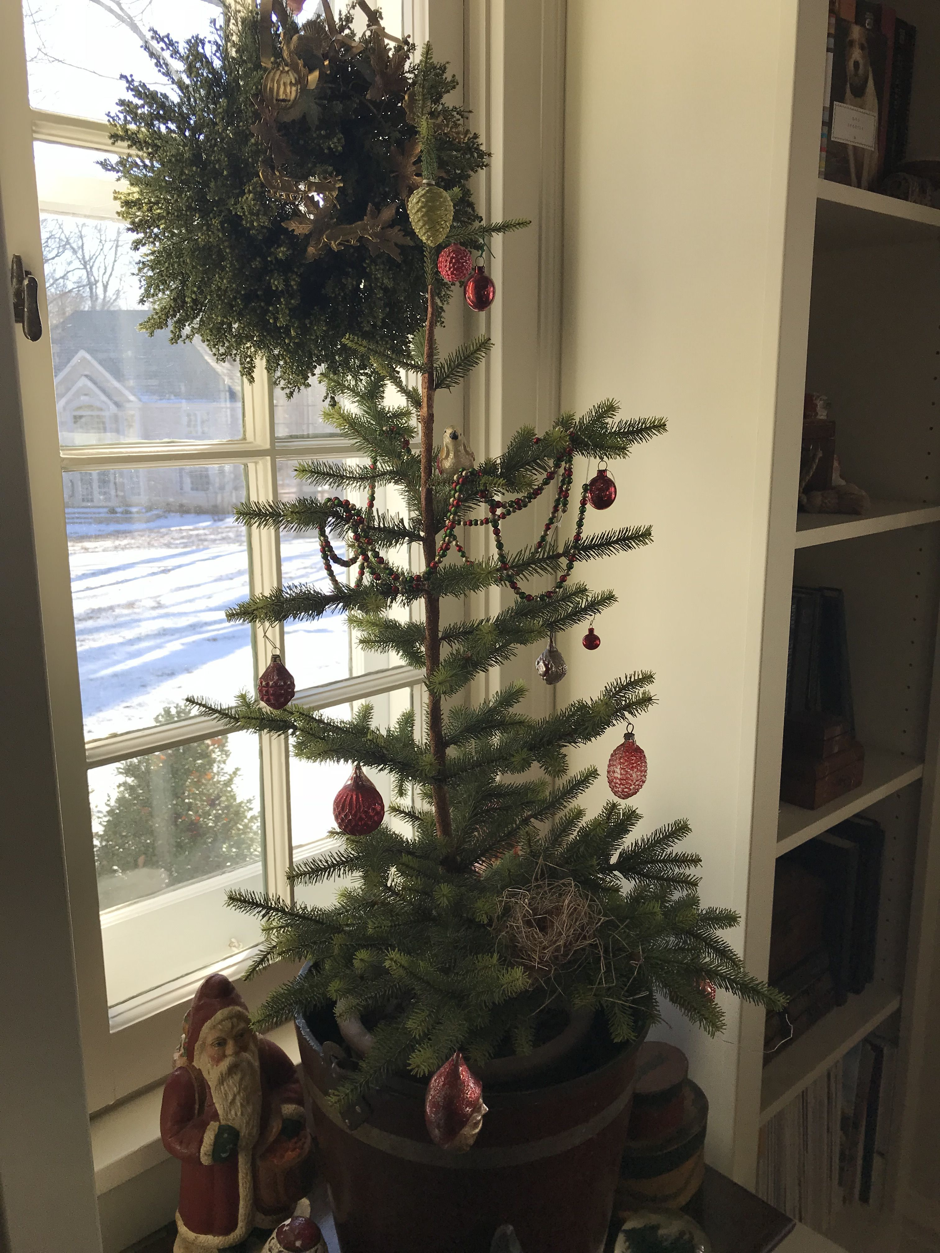 Pin By Gretchen Hall On Christmas Greens In 2020 Christmas Wreaths Holiday Decor Ladder Decor