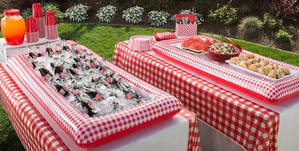 Red Gingham Party Decorations