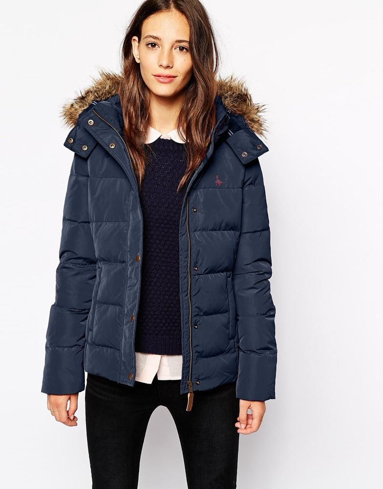 a9cc58bed265 Jack Wills Padded Canwick Puffer Fur Hooded Jacket Coat Navy UK 10 38 £129