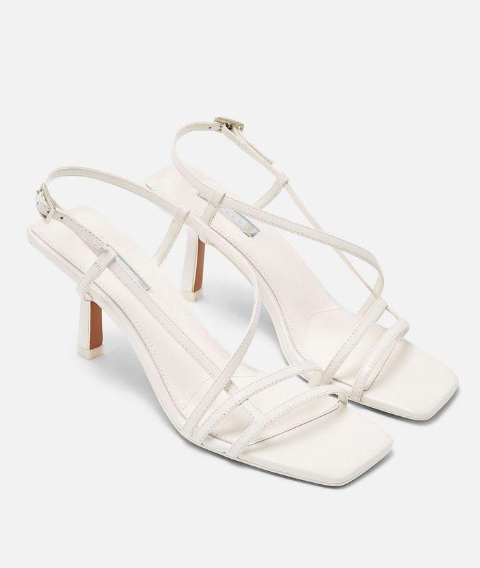 Topshop Strippy White Heeled Sandals