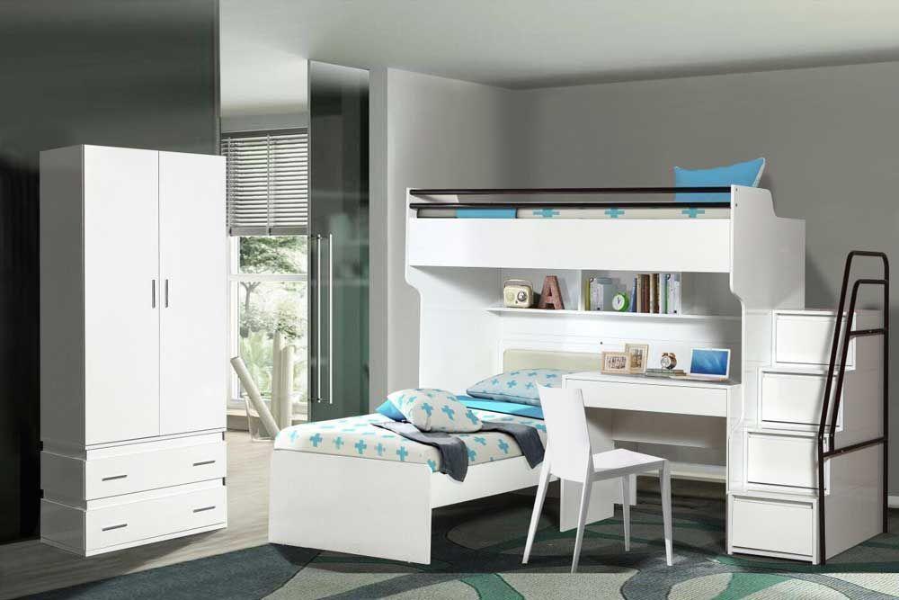 Bueno White Modern Bunk Bed 2 Door Wardrobe Children S Bed Study