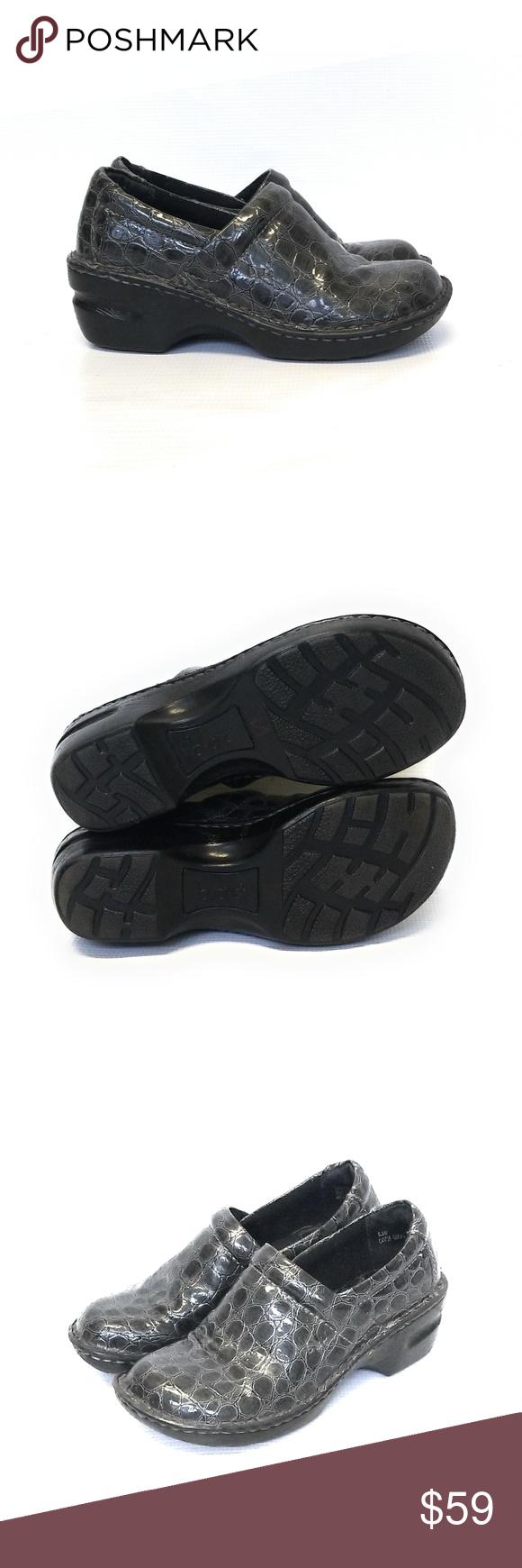 bbea990f08 b.o.c. Gray Croc Leather Nurses Nursing Shoes 6.5 b.o.c. Born Womens  Charcoal Gray Croc Nurses Shoes Clogs Size 6.5 Perfect condition Size 6 1/2  If you have ...
