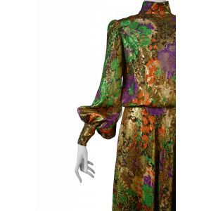 HOME :: DESIGNERS :: YVES SAINT LAURENT :: GOLD FLORAL EVENING DRESS