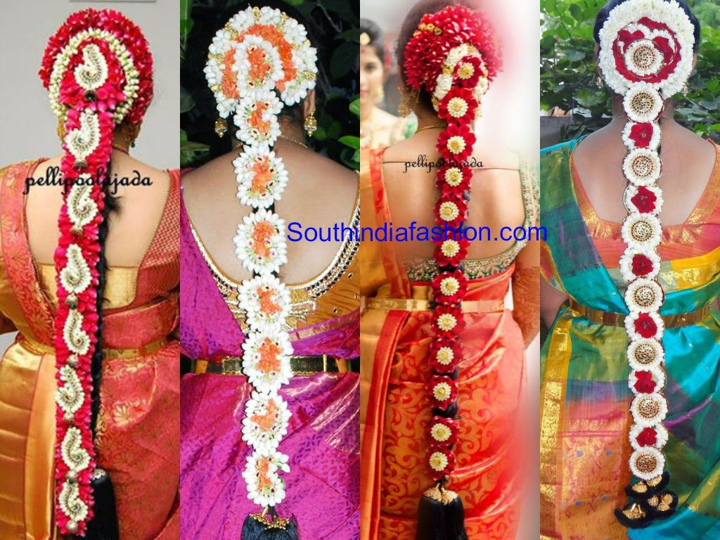 south indian floral bridal hair styles   saree blouse designs