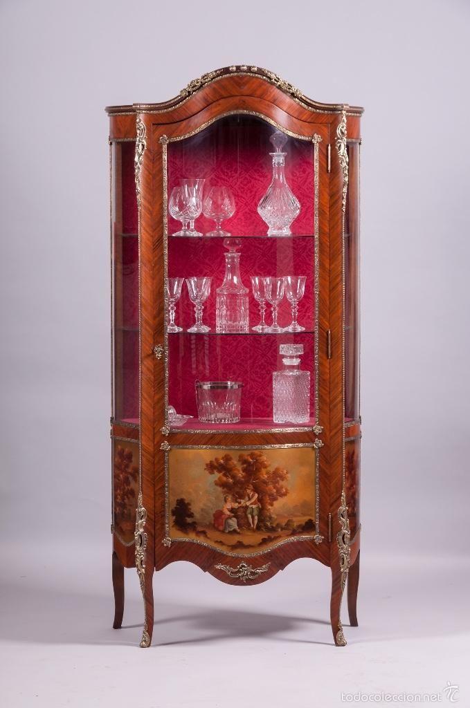 Gran vitrina antigua estilo luis xv foto 1 coleccion for Estilo luis xiv muebles