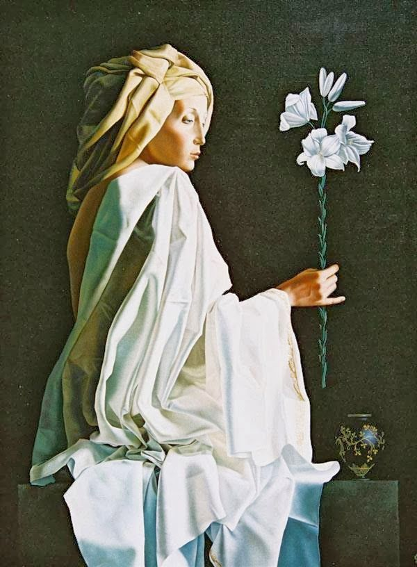 white - woman with flower - painting - Slava Fokk