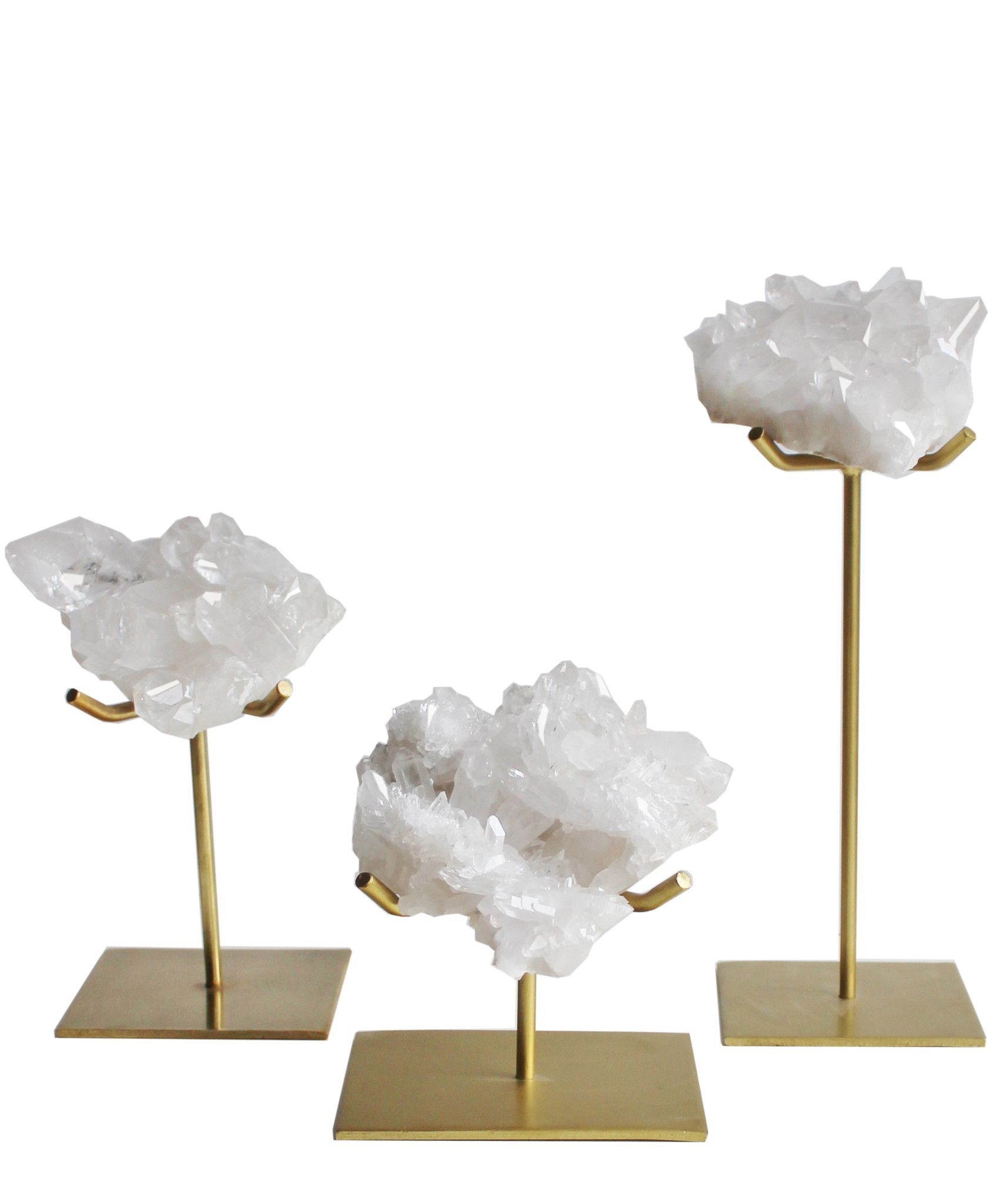 Natural Crystal Cluster On Gold Stand 3 Sizes Available