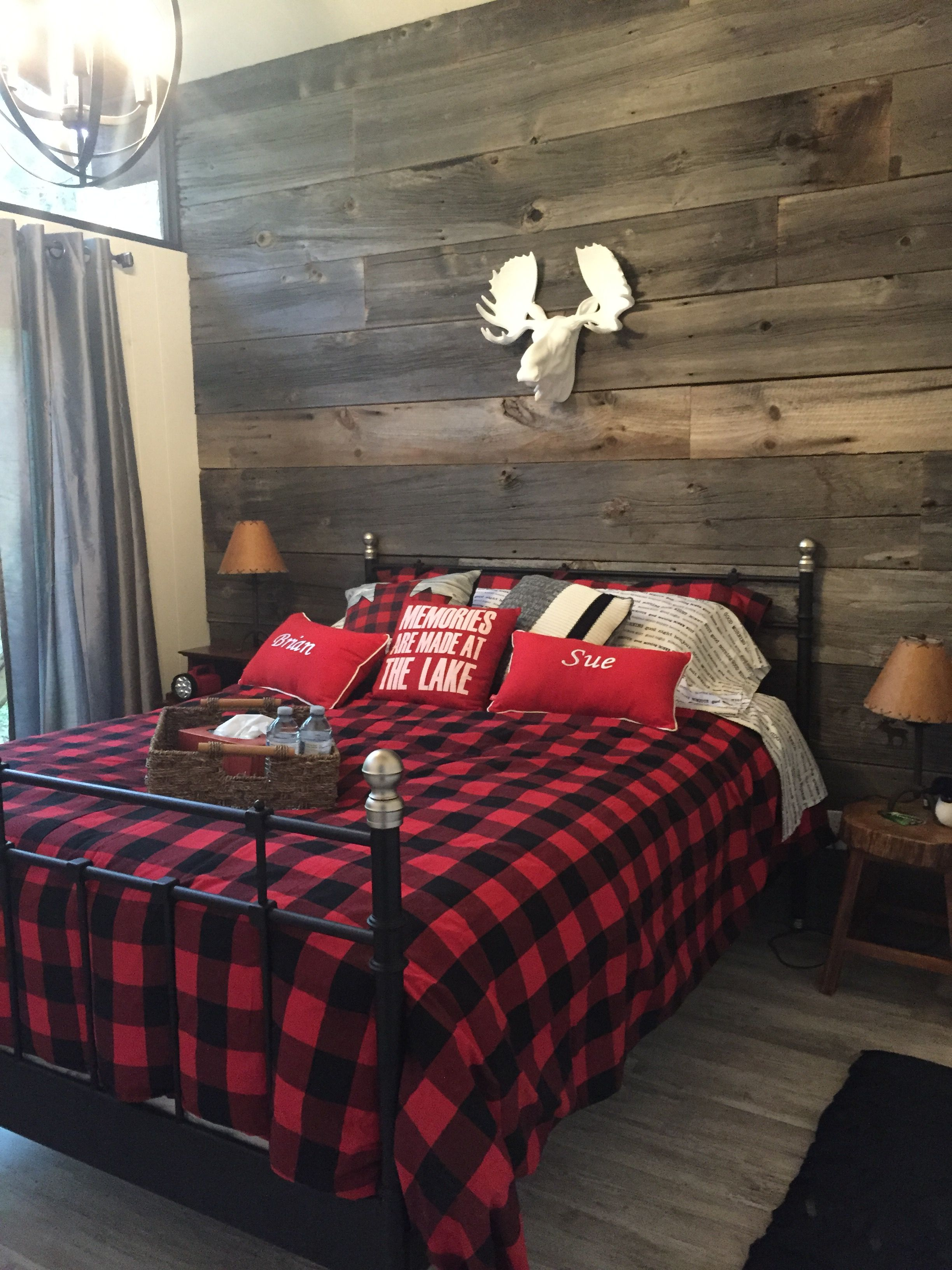 Grey Barn Board Wall In The Cottage Master Bedroom White Moose Head Urban Barn Buffalo Check Duvet Cover Si Remodel Bedroom Master Bedroom Remodel Bedroom Red