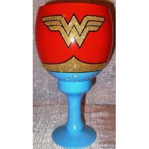DC Comics WONDER WOMAN Logo Jumbo 40oz Glass w/ Gold Glitter Drinking GOBLET