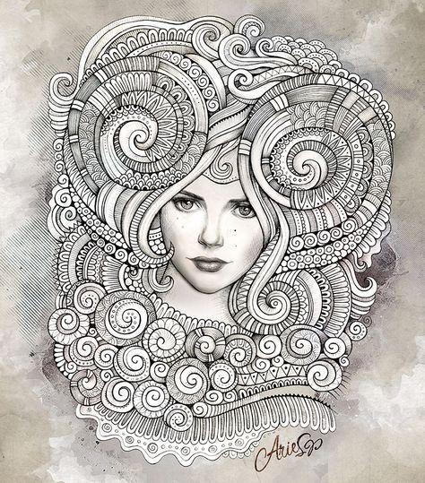Zodiac Signs Illustrations Zentangle Drawings Zentangle Art Zodiac Art
