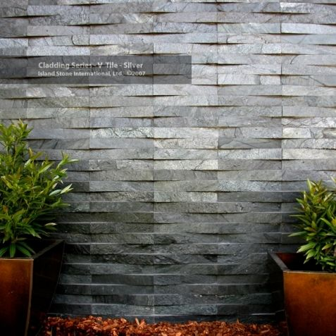 Island Stone Silver Quartzitic Slate Vtile In A Wave Format Offset By 100 Wall Cladding Cladding Exterior Wall Cladding