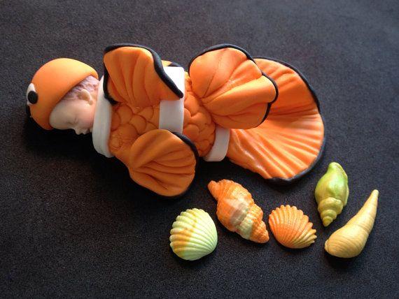 Fondant Baby Finding Nemo Cake Topper Baby Shower Birthday Etsy Fondant Baby Baby Shower Cake Topper Baby Cake Topper