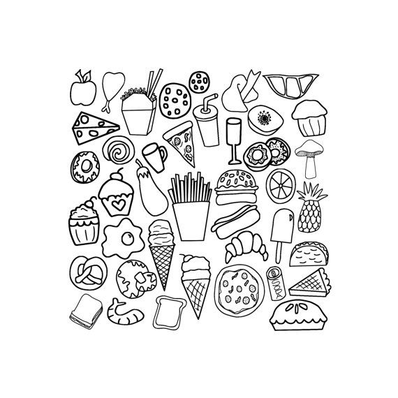 30++ Junk food black and white clipart info
