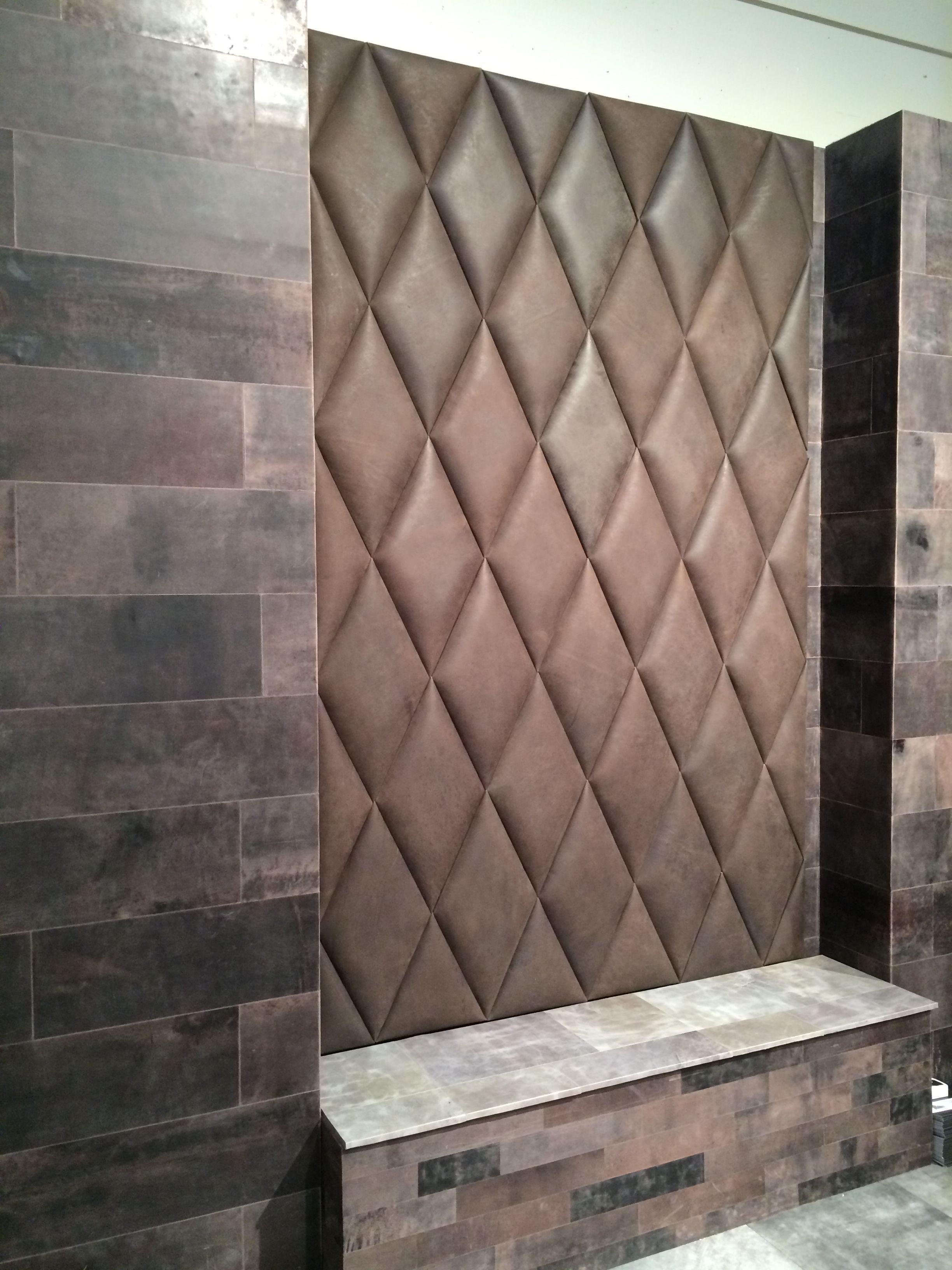 leather wallpaper tiles  Diamand shape 3D padded tiles in leather. | HUGS - 3D padded leather ...