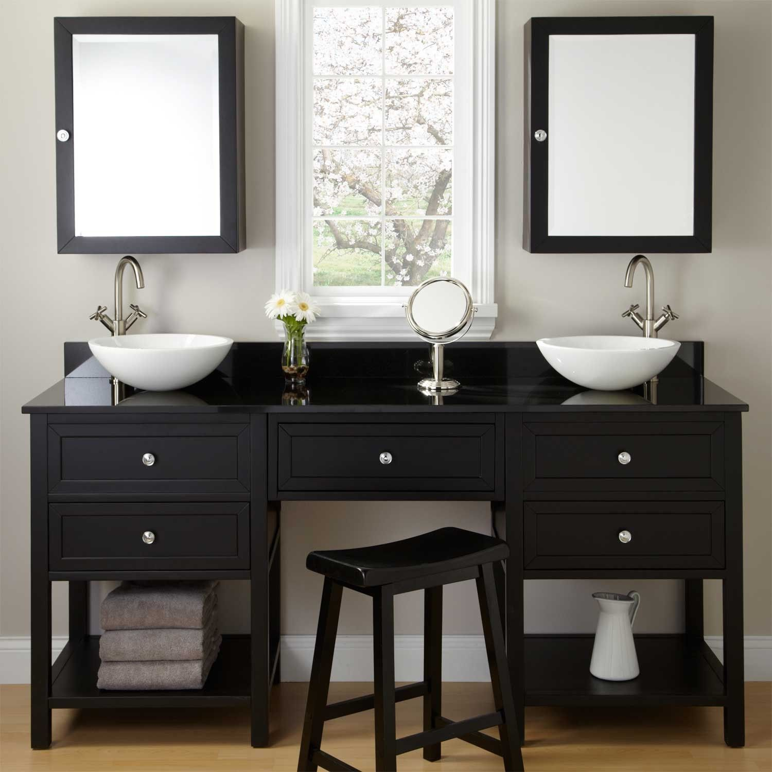 Double Bowl Sink Vanity.72 Taren Black Double Vessel Sink Vanity With Makeup Area