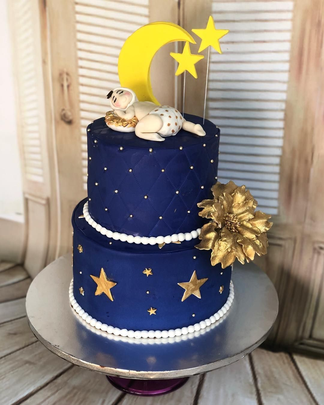 Twinkle Twinkle Little Star Cake For Baby Shower In Navy Gold